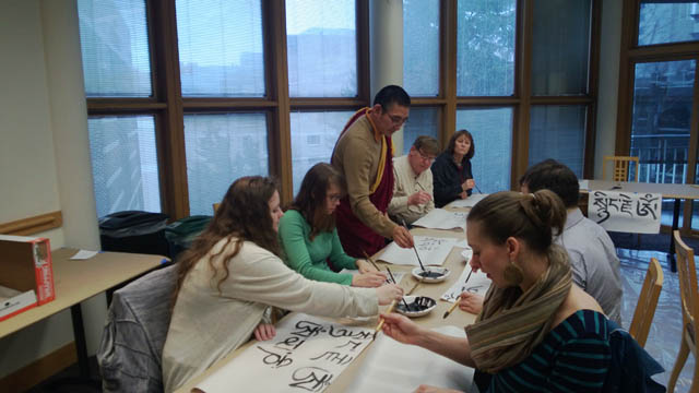 Ven. Tulku Yeshe Gyatso leads a calligraphy workshop at the Arts as Buddhist Practice festival, organized by Northwest Dharma Association in March, 2014.