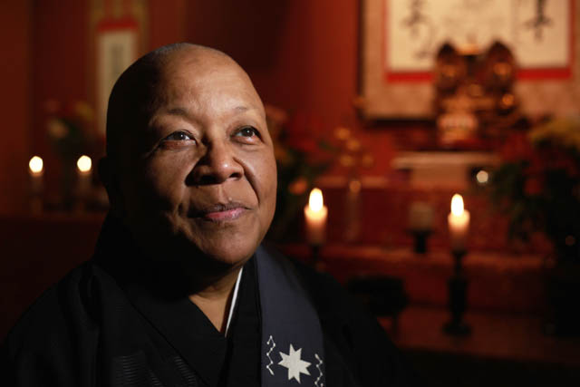 Reverend Myokei, from Texas, is the first western female bishop in the Nichiren tradition.