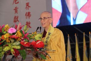 Venerable Thubten Chodron accepts the award, thanking Chinese Buddhists supporting nuns in the West.