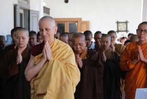 Venerable Chodron leads prayers with nuns of several Buddhist traditions in Indonesia.