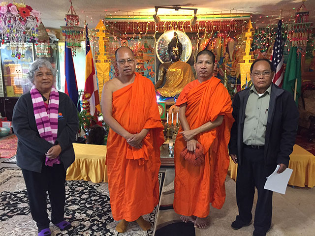 Lon Prim (wife of President Meas), Abbot Chea Poeuv, Venerable Bunthon Sok, and President Mon Meas, are coping with the impacts of the recent robbery of the Khmer Theravadin Buddhist Temple in Tacoma.