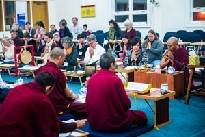 Lama Rabten (right) conducting the morning session. Front row, right to left: Lama Rabten, Christine Huang, Eric Flesher, Damayonti Sengupta, Julie Linderova, Wendy Pearson.