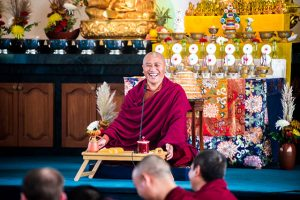 The drupchen was filled with good humor, reflected by Lama Rabten, teaching before an afternoon session.