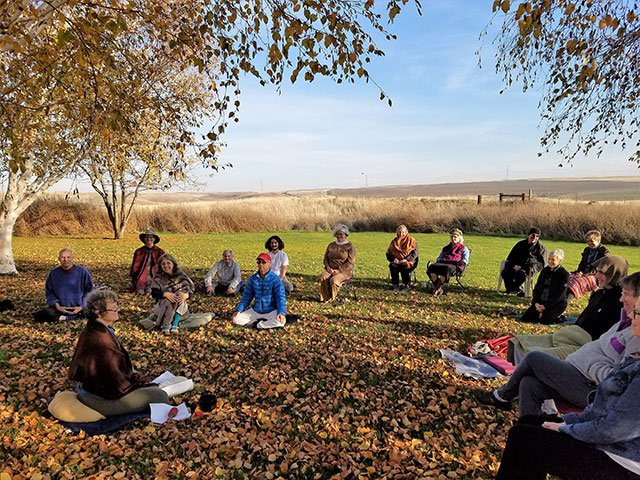 Meditators gather under the trees during a recent retreat with Kate Dresher (left foreground), an insight meditation teacher from Portland. A lovely day in November, 2016.