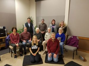 Participants at a recent Thursday evening meditation and discussion session. Back row – Jay Grate, Wes Luckey, Mary Ann Mason, Brenda Tagestad. Middle row – Kristin Coffman, Tim Barbour, Teri Warner, Ray Warner, and Gayle Wilde. Front row – Laura Kostad and Chris Murray. Murray is the founder and leader of Insight Meditation of the Mid-Columbia.