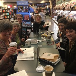 Members of the Sunday morning discussion group celebrating Loni's birthday – Left to right: Mary Jo Coblentz, Lois Paul, Mike Barnes, Valerie Engel, Cindy Lawrence, and Loni Baker. Not shown – Ina Hikido.