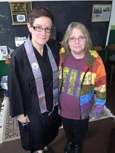 Rev. Dunn with sangha member Julie Love.