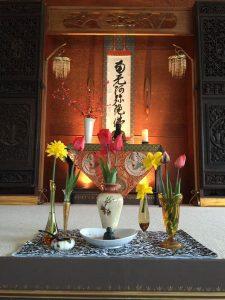 The Hanamatsuri Shrine, at the head of the practice hall.