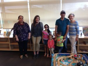 The children's eyes lit up when they first signed up at the town library. From left, Raina Khaldi, Shirley Graham, children Serina, Mimi, Adam, Samer Khaldi, and Anne Marshall, chair of the Salt Spring Refugee Sponsorship Group.