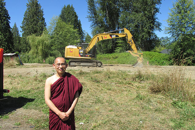 Ven. Pannobhasa is happy the community has been able to support backhoe work, to restore the property to environmental standards.