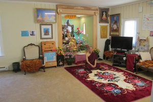 Inside the monastery building, members gather for teachings, meditation and retreat.