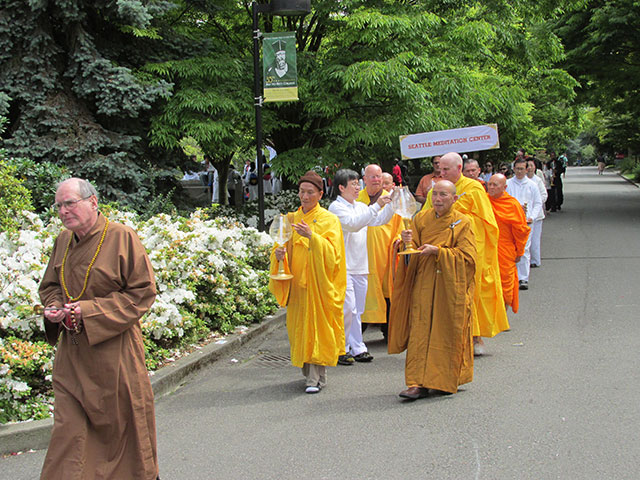 In 2013, monastics gathered at Seattle University, and led a procession through the campus, in honor of Vesakha.