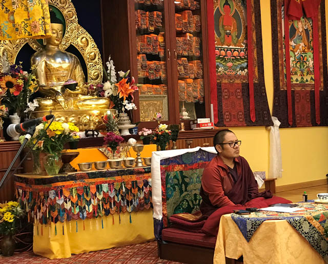 Adzom Gyalse Rinpoche teaching at the Northwest Tibetan Cultural Association in Portland.