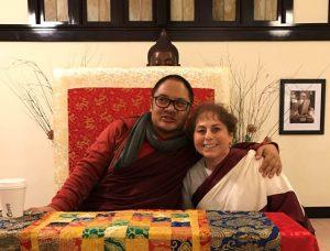 Adzom Gyalse Rinpoche with Jacqueline Mandell.