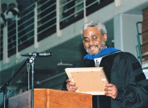 "Johnson was awarded his doctorate degree by Stony Brook University. His dissertation became the book ""Being and Race: Black Writing since 1970."""