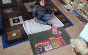 Johnson's grandson Emery Charles Spearman, who just turned five, starting his own meditation practice.