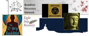 A few of the many Buddhist Recovery organizations. Collage by George Draffan.