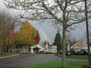 A rainbow arcs over the Gene and Irene Wockner Hospice Center in Kirkland.