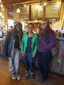 Vimalasara Mason-John, Genevieve Hicks and Tuere Sala, at lunch at Chaco Canyon in Seattle.