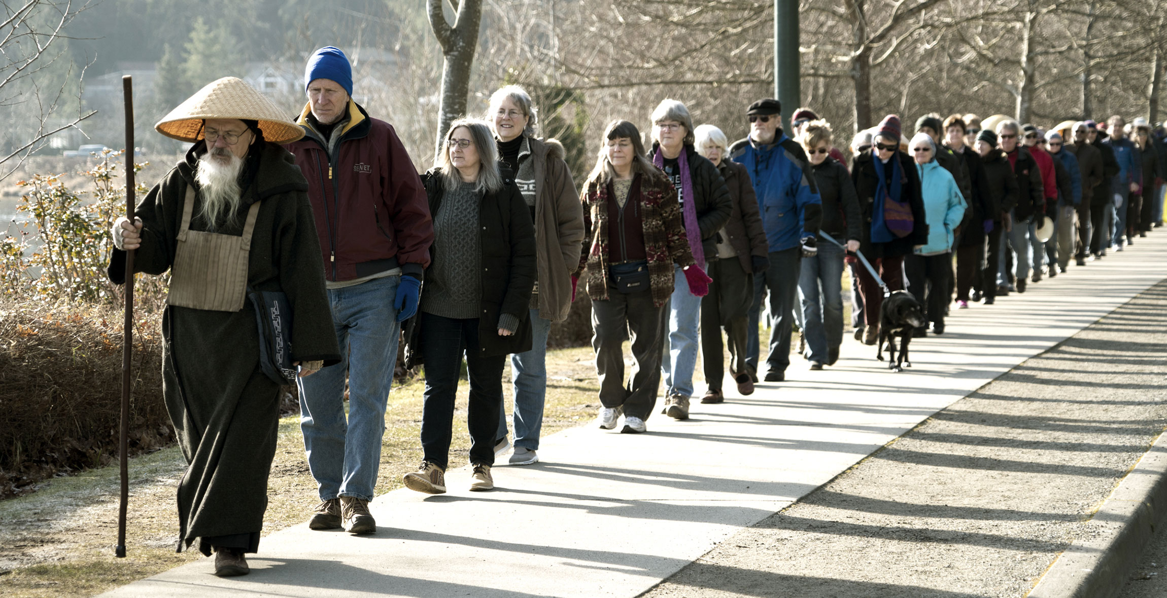 Nearly 100 people silently walked together in the name of peace, near Washington's state's capitol building, on a crisp cold Jan. 15. The walk, the 10th in a series, also honored the birthday of civil rights leader Martin Luther King Jr.