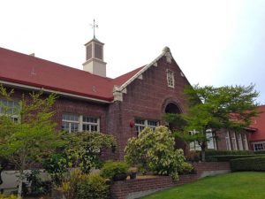 The non-profit Fauntleroy Schoolhouse in West Seattle, now the home of Ocean Light Zen Center.