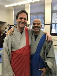 The new center celebrated by Guiding Teacher Tim Lerch (red), and Dharma Teacher Jonathan Bowra (blue).