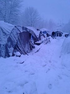 Snow days present special challenges for tent encampments.
