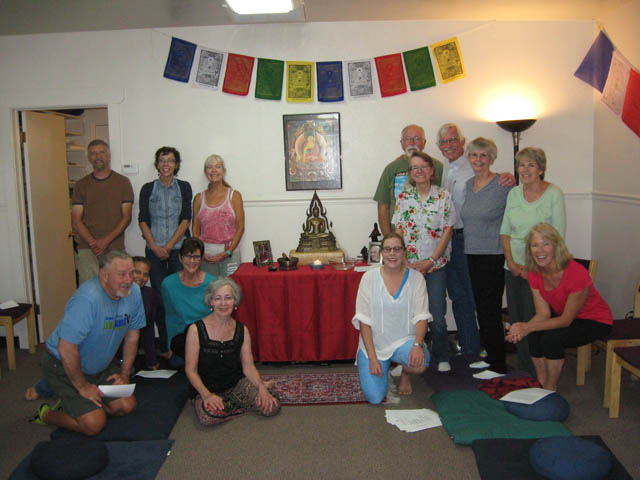 Participants at a recent Sunday meditation.  From left to right, back row: Paul Cormier, Elaine Tobias, Cathy Bryden, Bob Puckett, Paula Seikel, Tony Seikel, Tess Greenup, Coralee Greek.  Sitting:   Brent Patch, Ilise, Evelyn Dyck, Linda Sue, Tawnya Haines, Jean Bokelmann.
