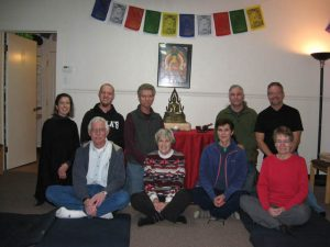 People together at a recent Wednesday evening meditation in the new space.