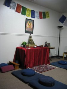 The Portneuf Sangha altar, ready for meditation.