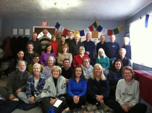 The sangha after a Sunday meditation in our old space, before the move.