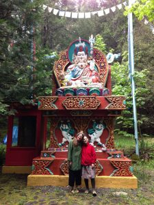 With two friends, one a visiting dharma sister, the other a rather large Guru Rinpoche, in the mountains of the Siskiyous, second year of retreat.