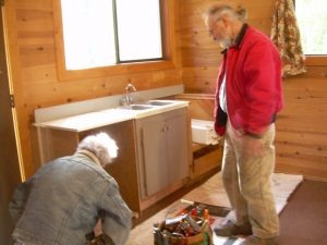 Two kind friends, Bruce and Brent, who drove down from Washington to install a kitchen in the Oregon cabin.