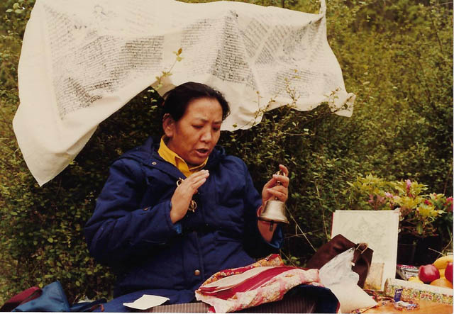 Jetsun Kushok in 1987 performing a ceremony to bless the land for the retreat center.