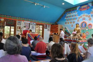Students gathered in the shrine room for White Tara teachings in July 2017.