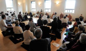 Weekly sits at Yoga Samadhi studio in White Salmon often draw 20-40 people. Luang Por Pasanno (visiting) leads, with Ajahn Sudanto, Ajahn Karundhammo, Ajahn Caganando and Tan Kassapo to his left.