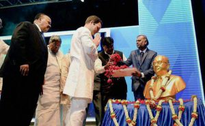 Martin Luther King III, global humanitarian; Rahul Gandhi, member of Indian parliament; pay homage to Ambedkar.