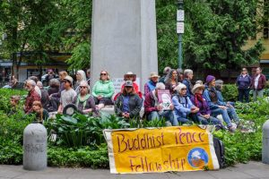 "On June 4, 2017, when the alt-right group ""Patriot Prayer"" staged a rally in Portland, several thousand anti-fascist groups came out to meet them. BPFP held a sit/stand/walking meditation near the point of confrontation."