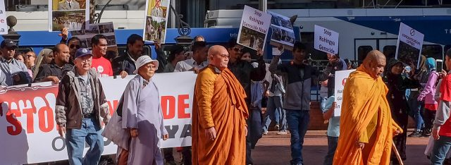 Buddhist Peace Fellowship of Portland supports many human rights campaigns. Here the group joined a rally and walking meditation protesting the Rohingya genocide in Myanmar, organized by the Muslim Educational Trust. A group of Thai monks led the walking meditation. Click on photo to go to story >>
