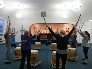 "Practicing traditional Japanese drumming at the November ""Celebrating the Sangha"" event, in Seattle."