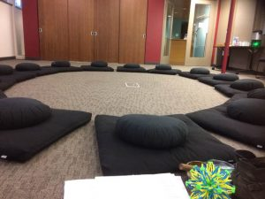 A circle of cushions, from a teen class at the UW Center for Child and Family Well-Being.