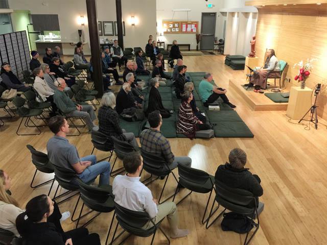 The sangha gathered for a recent talk, by co-teacher Tuere Sala.