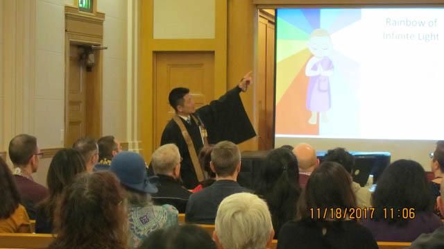 Rev. Kiyonobu Kuwahara, Center for Buddhist Education, (CBE, Buddhist Churches of America), giving opening remarks.