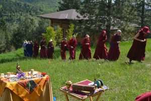 In May, the Sravasti Abbey community created a ceremonial procession around the future site of Prajna Cottage.