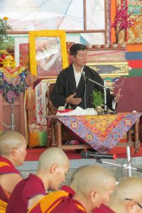 Lobsang Sangay, the equivalent of prime minister for the Tibetan government in exile, addresses the crowd.