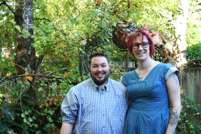 Kevin Manders and Elizabeth Marston, relaxing in November, 2017 in backyard of The Beehive--the collective house where Marston lives in East Vancouver, British Columbia.