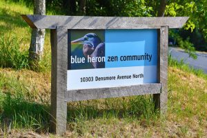 Entrance sign at Blue Heron Zen Community