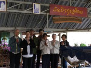 At Wat Pa Boon Lom. Left to right: Scott Benge, Joan Benge, Matthew Grad, Carole Melkonian, Krissy Martin, Ruby Grad, Yindy
