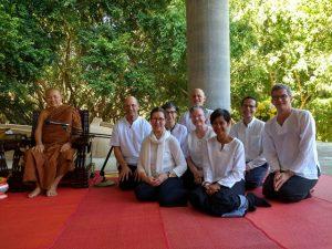At Wat Pah Sai Gnam with Ajahn Anek. Left to right: First row: Joan Benge, Krissy Martin. Second row: Ajahn Anek, Scott Benge, Carole Melkonian, Ruby Grad, Matthew Grad, Bob Martin