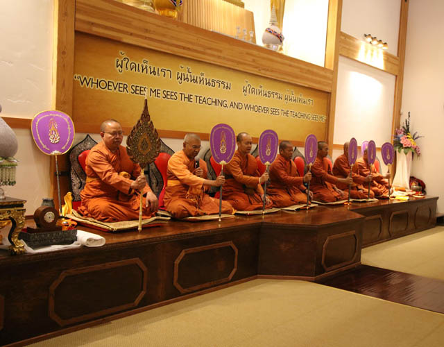 Monks conduct a ceremony at Atammayatarama Buddhist Monastery and Meditation Center in Woodinville